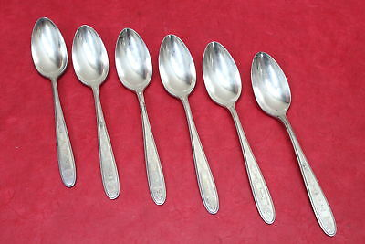 "6 Oneida Community Grosvenor Silverplate Flatware Teaspoons Monogram ""D"""