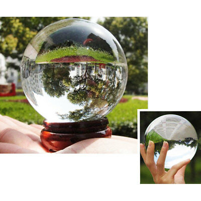 Transparent Wooden Stand Glass Ball Magic Sphere Feng Shui Home Crystals
