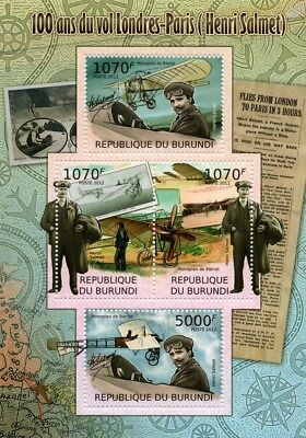 Henri Salmet (London-Paris) Bleriot Monoplane Aircraft Stamp Sheet/2012 Burundi