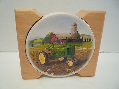 John Deere Absorbent Stoneware Coasters Set of 4 with Wooden Holder