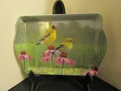 "Hautman Brothers Gold Finch Birds Melamine Tray ""Ashdene"" Pink Flowers 7""Long"