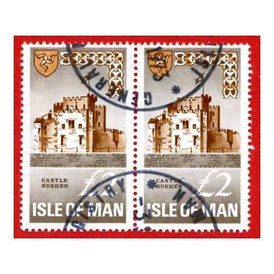 Isle of Man 2 Pound Grey & Brown Pair QEII Pictorial Revenues CDS On Piece