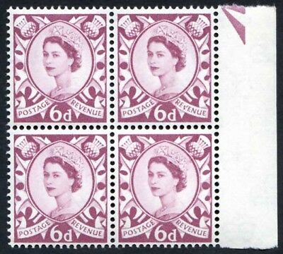 Scotland XS16a 6d Purple Crowns Wmk Cream Paper with Broken V Of Revenue