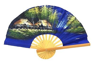 Beautiful Vintage Hand Painted Fan Bamboo Handle Tropical Bungalow Scene