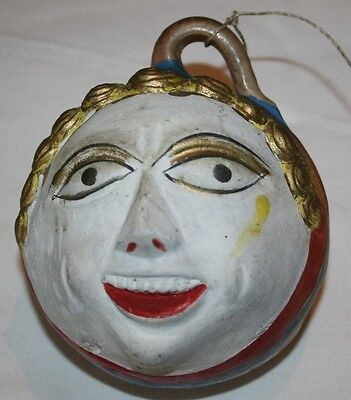 Vintage Antique Mexican Clay Weird Witch Face Spiritual Rare Hanging Voodoo Old
