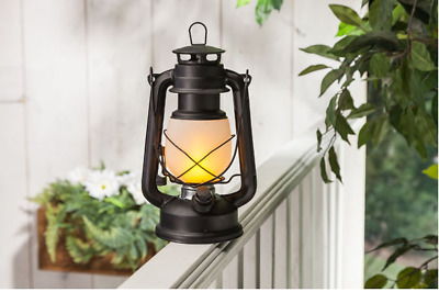 fireglow led hurricane lantern with dimmer 9 5 matte black by