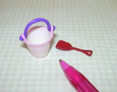 Miniature BABY PINK Beach Pail w/PURPLE Handle + Red Shovel: DOLLHOUSE 1/12