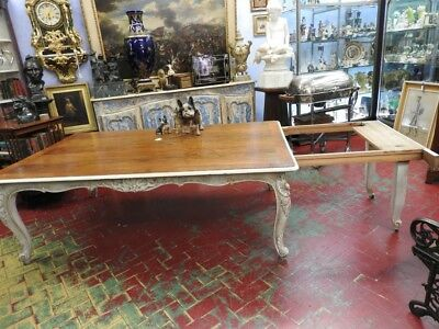 Ancient Grande Table French Provence Lacquered Extendible Period