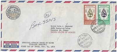 Libya Us 1962 Registered Tripoli Oasis Oil Company Airmail Cover To Houston Neat