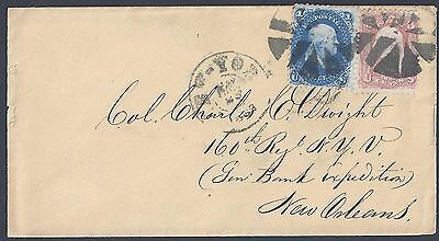 US 1863 CIVIL WAR ERA CARRIER RATE COVER Sc 63 & 65 NEW YORK DOUBLE CIRCLE CDS &
