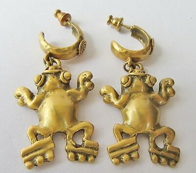Figural Frog Earrings Pre Columbian 1988 Alva Museum Reproduction