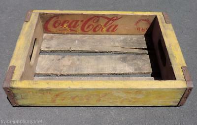Original 1965 Chattanooga Tn Yellow & Red Coca-Cola Wood 6-Pack Bottles Crate