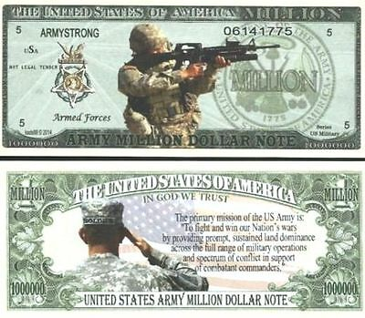 2 Sleeved U.S. ARMY Million Dollar Novelty Bill ARMY STRONG + Bonus ~ USA SELLER