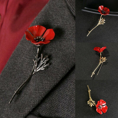 1Pc Red Poppy Flower Brooch Pin Banquet Crystal Badge Gold Flower Gift Jewelry
