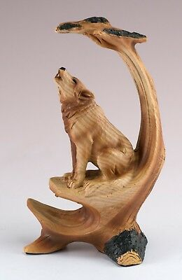 """Wolf Howling Carved Wood Look Figurine Resin 5"""" High New In Box!"""