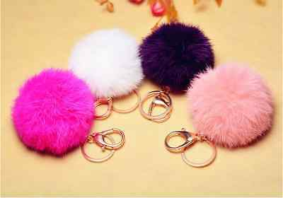 Keyring Pompom Keychain Ball Real Fur 8cm Ball Monster Soft Fluffy Charm W_ GP