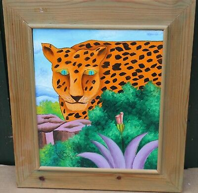 Unusual Framed Bright Childlike Painting On Board Of Tiger Signed & Dated 75