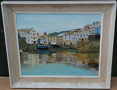 White Framed Painting On Board Of Coastal Village By Ripley