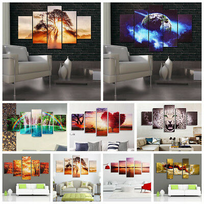5Pcs Modern Abstract Canvas Prints Painting Picture Home Wall Art Decor Unframed