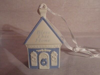"Wedgwood Blue & White Bless This Home Ornament 3 1/2"" tall Homeowner Christmas"