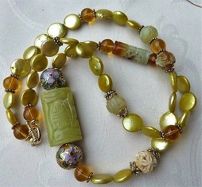 Designer Jade and Pearl Necklace-Antique Chinese Carved Hsiu Jade