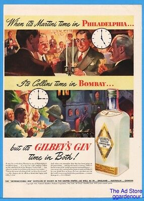 1942 Gilbey's London Dry Gin Martini Time In Philadelphia Collins in Bombay Ad