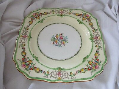 Minton square salad dessert plate Stratford yellow green flowers fruit B1116