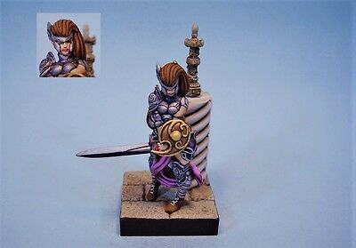Confrontation painted miniature Female Warrior Leader