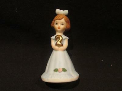 2nd Birthday Growing Up Birthday Girls Enesco Figurine Girl in Light Blue Gown