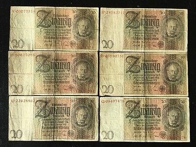 Currency Germany 1929 WWII 3rd Reich Nazi Era 20 Reichsmark Zwanzig Lot Of 6