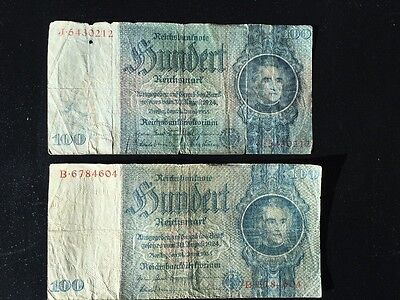 Currency Germany 1935 WWII 3rd Reich Nazi Era 100 Reichsmark Hundert Lot Of 2
