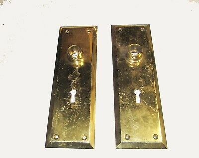 "Vintage Pair of Benton #1241  Solid Brass Door Knob Lock Plate Size 8"" x 2 1/2"""