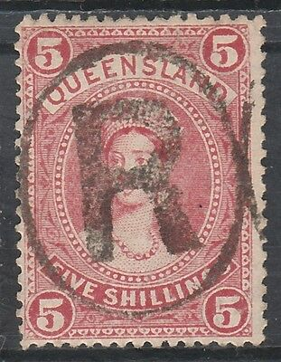 Queensland 1907 Qv Large Chalon 5/- Wmk Crown/a Used
