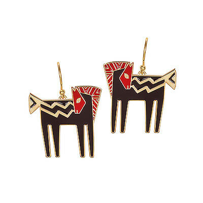 LAUREL BURCH Earrings Jewelry TEMPLE HORSE Black Red Gold Dangle Drop Charm Pony