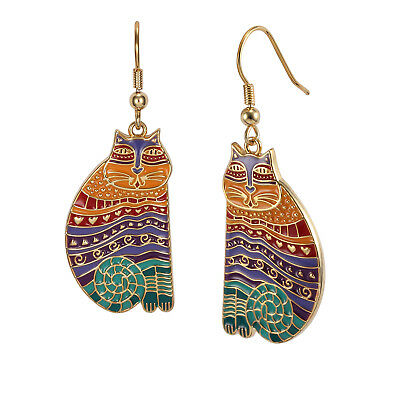 New LAUREL BURCH Earrings Jewelry RAINBOW CATS Gold Dangle Drop Charm Tan Purple