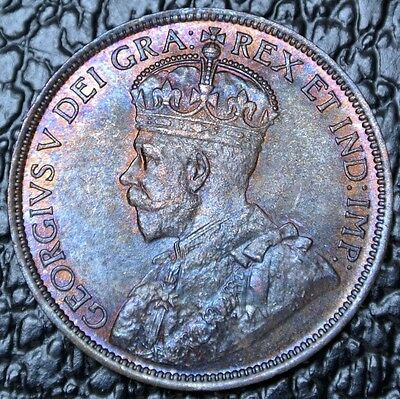 OLD CANADIAN COIN 1916 LARGE CENT/ONE CENT - George V - Gorgeous Toning / Lustre