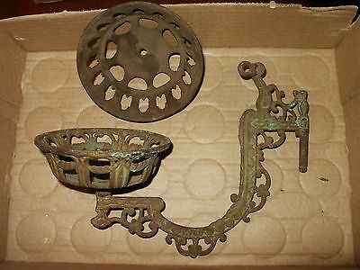 Antique Victorian Cast Iron Wall Mount Oil Lamp Swing Arm Sconce