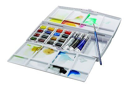 Winsor and Newton Cotman Watercolours - Painting Plus - 16 Half Pans & 3 Tubes