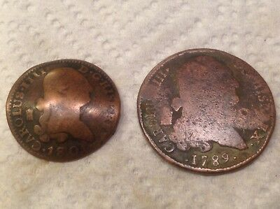 Lot Of 2 Copper Spanish 1700's-1800's King Charles IV 8 and 4 Maravedi coins NW7