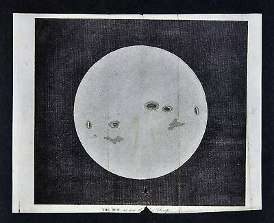1806 Astronomy Print - Sun with Spots - Helios Star Sky Watching Solar System