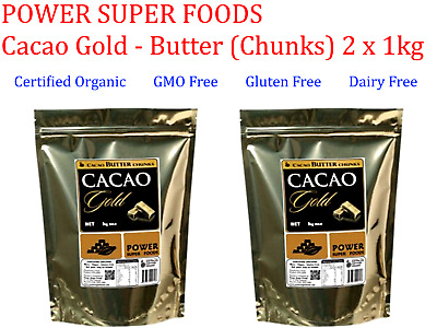2 x 1kg POWER SUPER FOODS CACAO GOLD POWER Butter Chunks * Dairy & Gluten Free