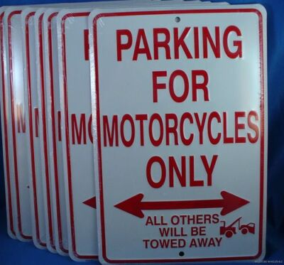 WHOLESALE LOT OF 6 PARKING FOR MOTORCYCLES ONLY METAL TIN SIGN Made in USA U.S.