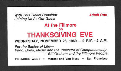 THANKSGIVING JAM Dead Airplane Janis  Original  BG Fillmore Concert Ticket 1969