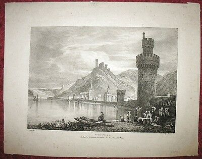 OBERWESEL – Sehr große Lithographie von PROUT. 1822
