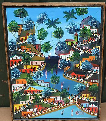 Unusual Framed Bright Childlike Painting On Canvas Of Houses Etc Signed