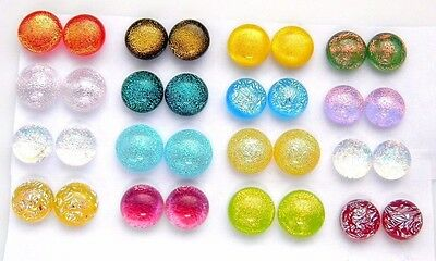 FOR POST EARRINGS TINY Lot 32 pcs round gorgeous DICHROIC FUSED GLASS (E10)