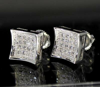 Mens Square Silver Finish Studs 9mm Micro Pave Cz Screw Back Bling Earrings