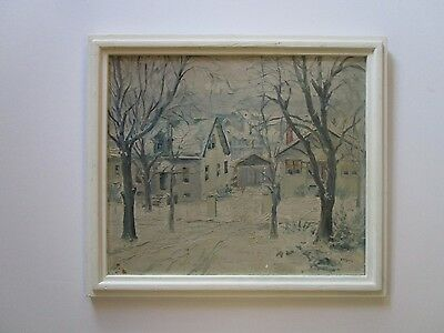 Gross Antique Painting Exhibited With Tag St Louis Artists Guild 1920's Wpa Era