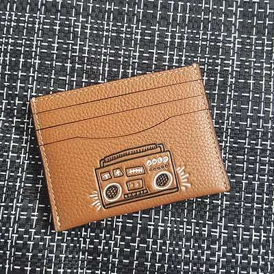 NWTCoach Keith Haring Slim Card Case Mens Boombox F87106 Caramel Leather $95