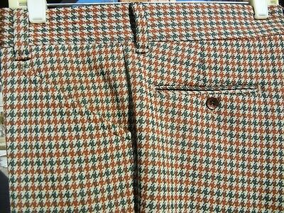Vintage Big Houndstooth Pattern 1970s Pants 34x29 - Double-knit w/ Flared Legs